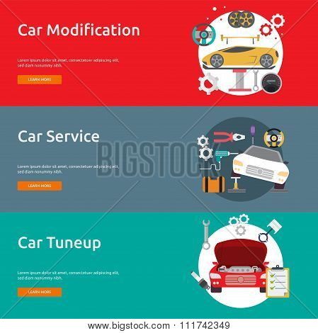 Mechanic and Car Repair | Set of great flat design illustration concepts for car repair, auto service, engine and much more.