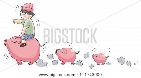Cute cartoon character Piggy boy ride and leading little pigs in a row in isolated background (set 9