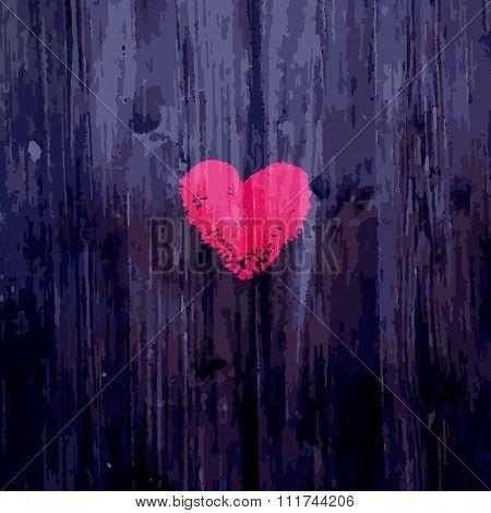 Valentine heart on wooden background