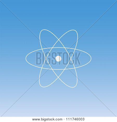 physics of atomic nucleus and orbital electron thin icon set on colored background