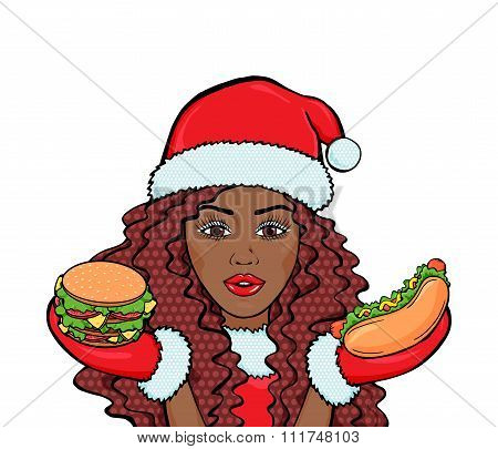 Vector Attractive African American Woman In Santa Costume With Burger And Hot Dog, Winter Pop Art