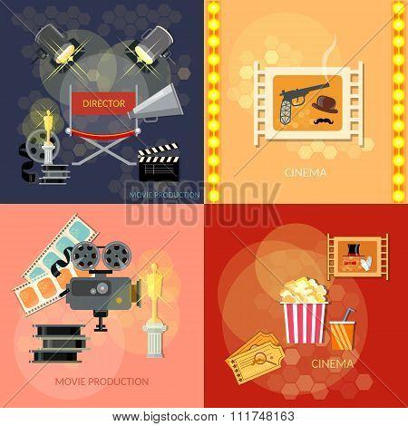 Set Of Movie Design Elements Cinema Festival Movie Tickets Clapper Popcorn Awards Ceremony