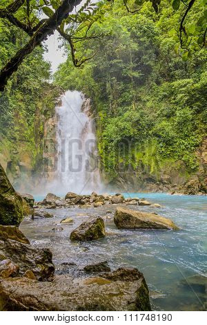 Waterfall On The Rio Celeste, Tenorio Volcano National Park, Costa Rica