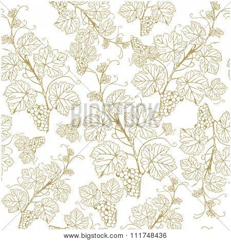 Seamless background with golden grapes. Vector illustration. Vintage style