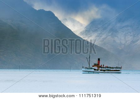 Old Tradition Boat Floating In Wakatipu Lake Queen Town South Island New Zealand Important Traveling