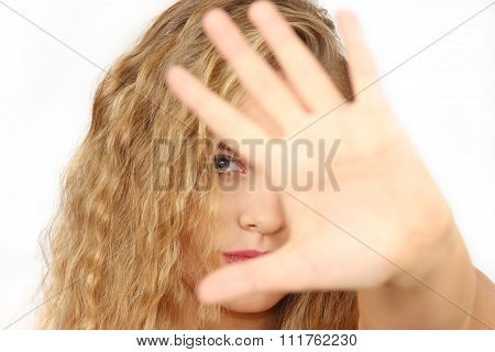 Horizontal Portrait Of The Girl On A White Background