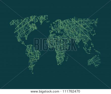 Map Of World Network Continents Of Planet Earth. Business Concept Illustration Link In World.  World