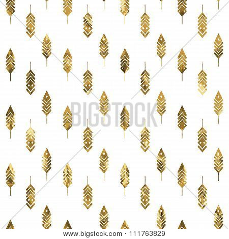 Modern Seamless Pattern With Gold Feathers