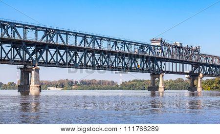 Danube Bridge or Friendship Bridge. Steel truss bridge over the Danube River connecting Bulgarian and Romanian banks between Ruse and Giurgiu cities poster