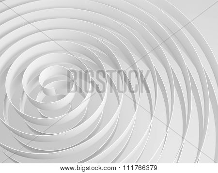 White 3D Spirals With Soft Shadows, Abstract