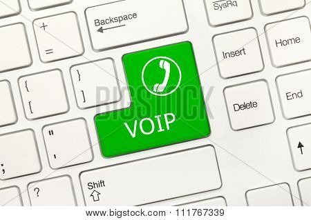 White Conceptual Keyboard - Voip (green Key)