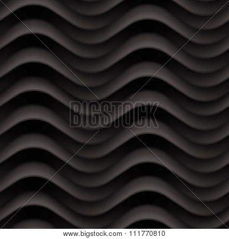 Vector black wave texture. Seamless background. Dark black seamless texture for Interior wall decoration. 3D Vector interior wall panel pattern. Modern wavy black design wall.