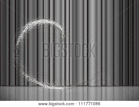 Christmas And New Year Silver Curtain With A Snow