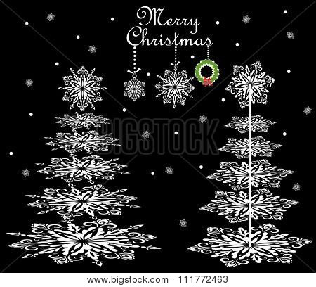 Christmas card with paper snowflakes conifers