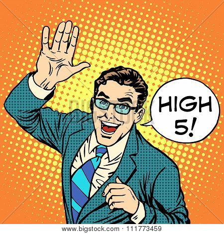 High five joyful businessman