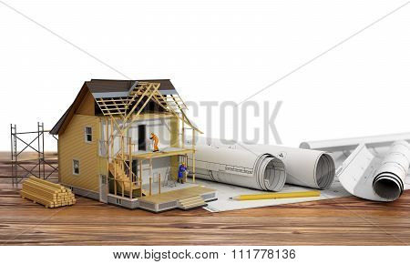 Concept Of Construction. 3D Render Of House In Building Process With Builders On Blueprint And Wood