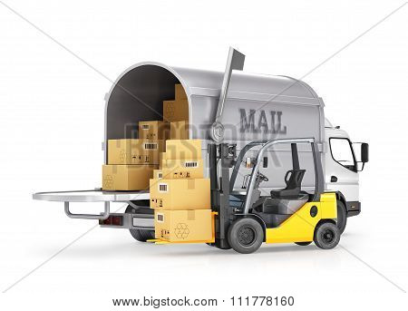 The Carrier Of Cargo (mail) And Forklift With Boxes, Isolated On White Background