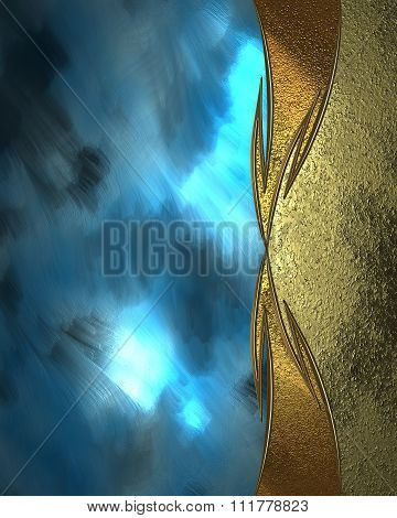 Background Blue With Gold. Element For Design. Template For Design. Copy Space For Ad Brochure Or An