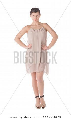Woman in short dress