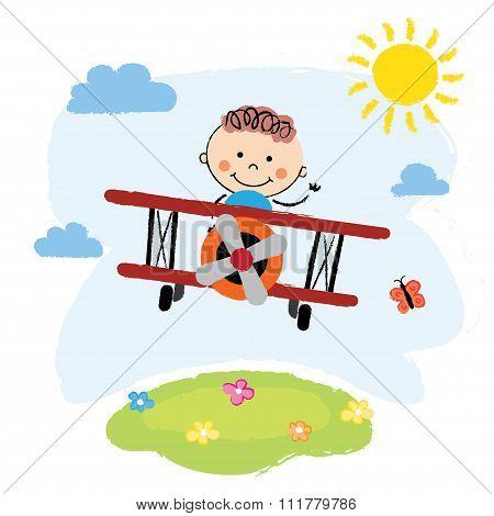 Boy flying over a field