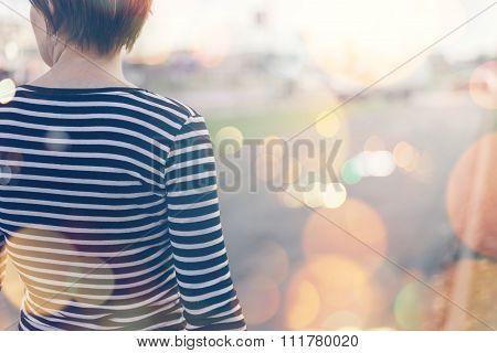 Ordinary Casual Woman Walking Down The Street