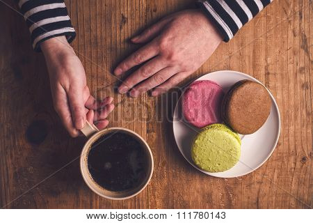 Coffee And Macaron Cookies In The Morning