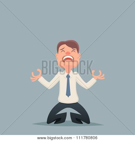 Vintage Businessman Despair Suffer Grief Character Icon on Stylish Background Retro Cartoon Design V
