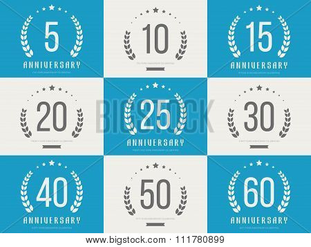 Set of anniversary signs, symbols. Five, ten, fifteen, twenty, thirty, forty, fifty, sixty ye