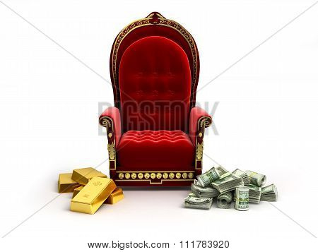 Money And Gold Lie Next To An Empty Throne