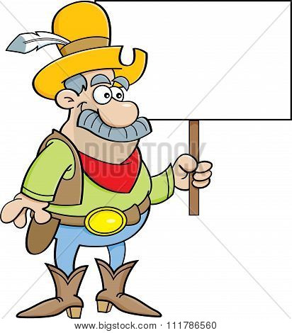 Cartoon cowboy holding a sign.