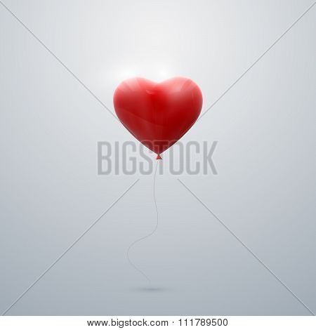 flying red balloon heart