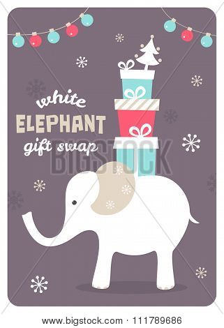 White Elephant Gift Exchange Illustration