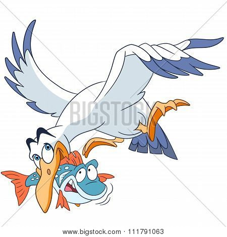 Cute Flying Cartoon Seagull With A Fish