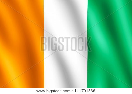 Flag Of Cote D'ivoire Waving In The Wind