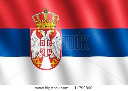 Flag Of Serbia Waving In The Wind