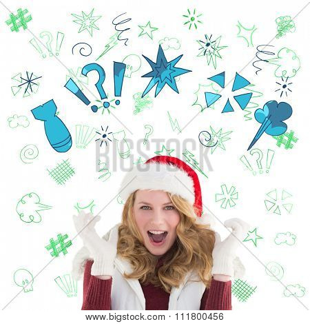 Blonde woman in santa hat screaming at camera against swearing doodles