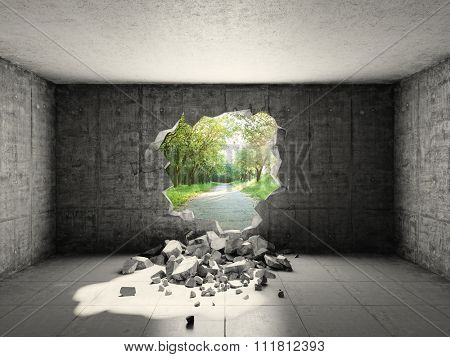 Concrete room with hole in wall and exit to freedom
