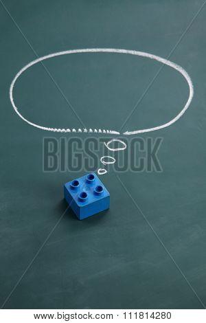 square lego block with speech bubble  dream big poster