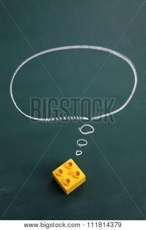 square lego block with speech bubble  dream big
