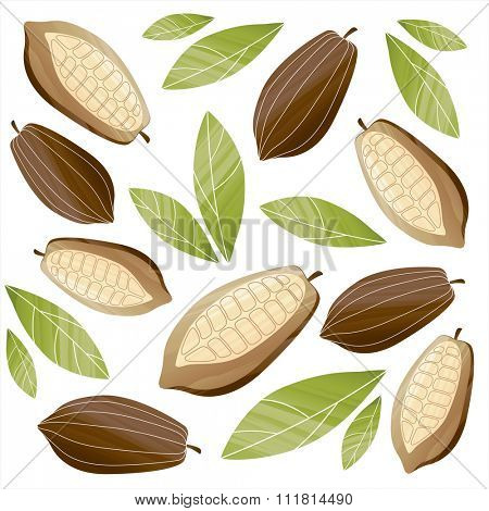 Background with painted cacao beans