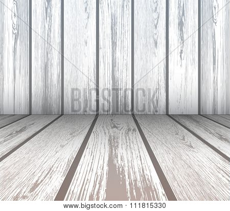 Interior scene of wooden wall and floor, vector 3D illustration.
