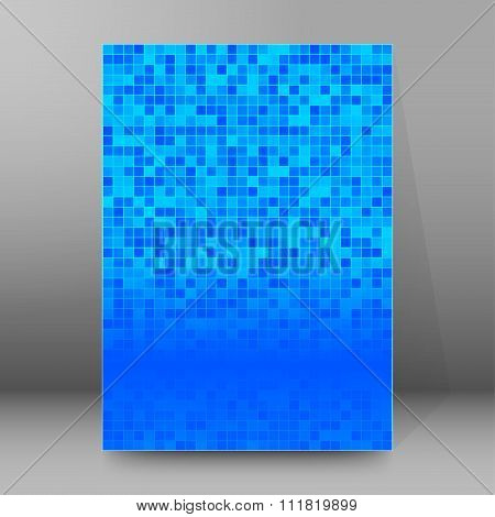 Pixel Blue Background Brochure Cover Page Layout