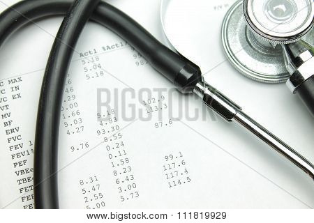 Stethoscope and the results of spirography