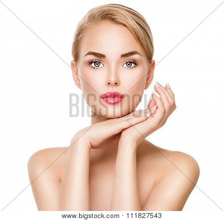 Beauty spa young woman portrait isolated on white. Beautiful model girl with beauty makeup touching her perfect fresh face. Attractive Blonde lady with blue eyes. Youth and Skin Care Concept