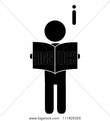 Read book man flat icon pictogram isolated on white