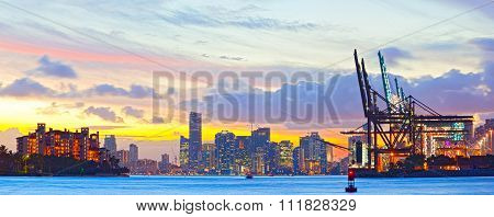 Sunset panorama of Miami Port Fisher Island and downtown