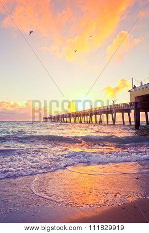 Sunrise at the pier in Dania Beach Florida