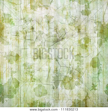 Antique Green Flowered Cracked Linen Background
