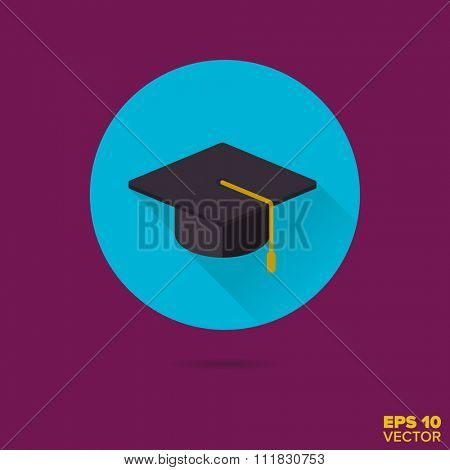 mortarboard academic hat flat design icon vector