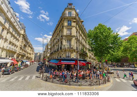 Latin quartier area in Paris, France